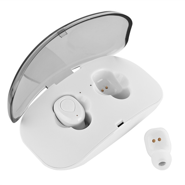 X18 Wireless Headset Hidden Earpiece 5.0 Bluetooth Wireless Stereo Earphone with Mic Portable Battery Storage - White
