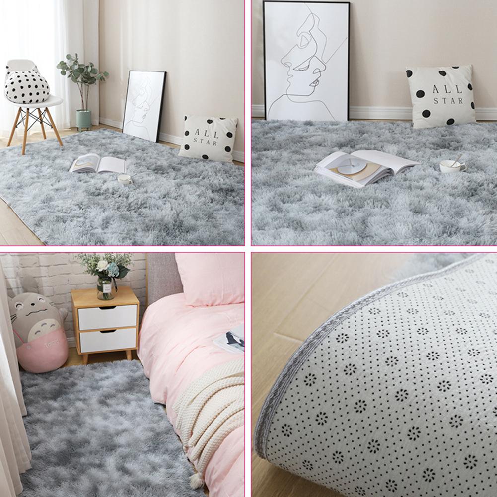 Carpet Tie Dyeing Plush Soft Floor Mat for Living Room Bedroom Anti-slip Rug light grey_80x160cm