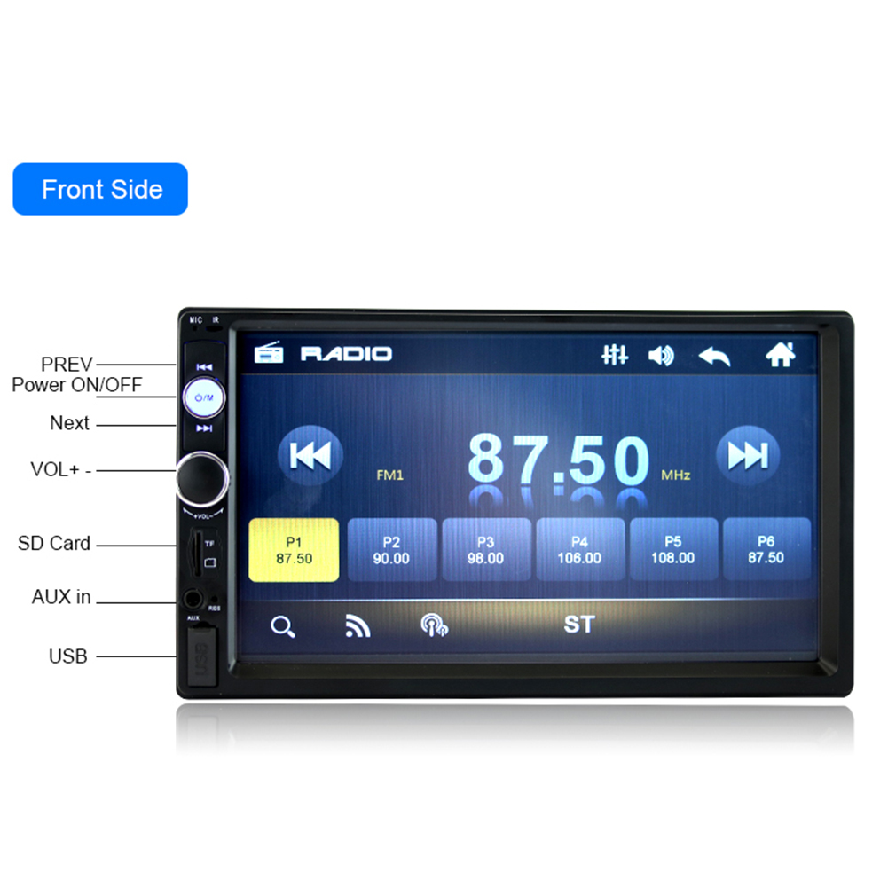 Black 2 Din Car Video Player