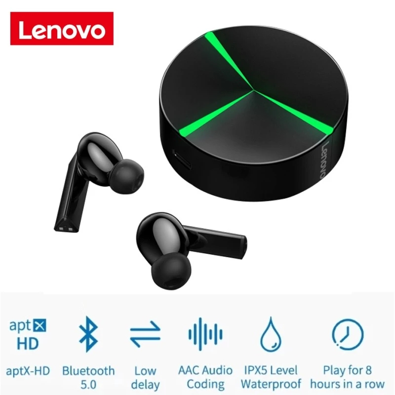 Original LENOVO Gm1 Wireless Bluetooth  Gaming  Headset Tws Earbuds Ipx5 Waterproof Touch Control With Microphone black