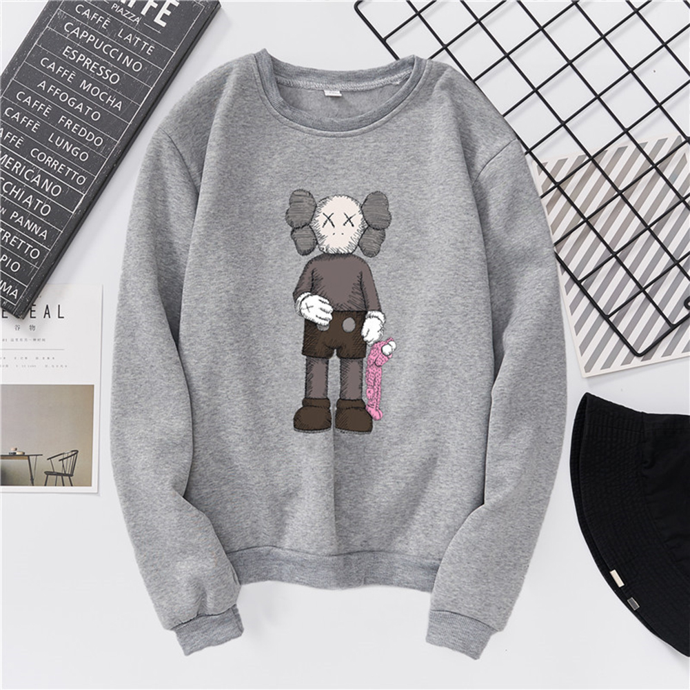 Unisex Fashion Kaws Long Sleeved Blouses Plush Round Collar Tops gray_S