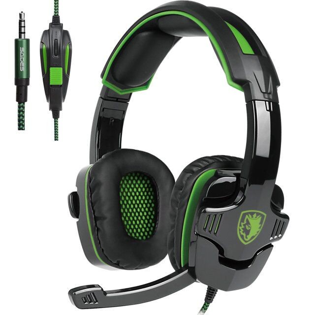 SADES SA-930 Professional Headset 3.5mm Gaming Headphones with 1 to 2 Cable for Computer dark green