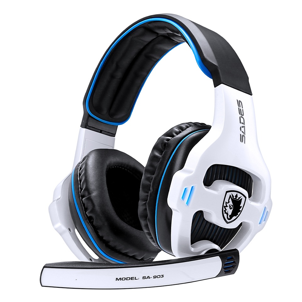SA-903 High-Performance 7.1 USB PC Headset Deep Bass Gaming Headphones With LED Micphone For Games Player White blue
