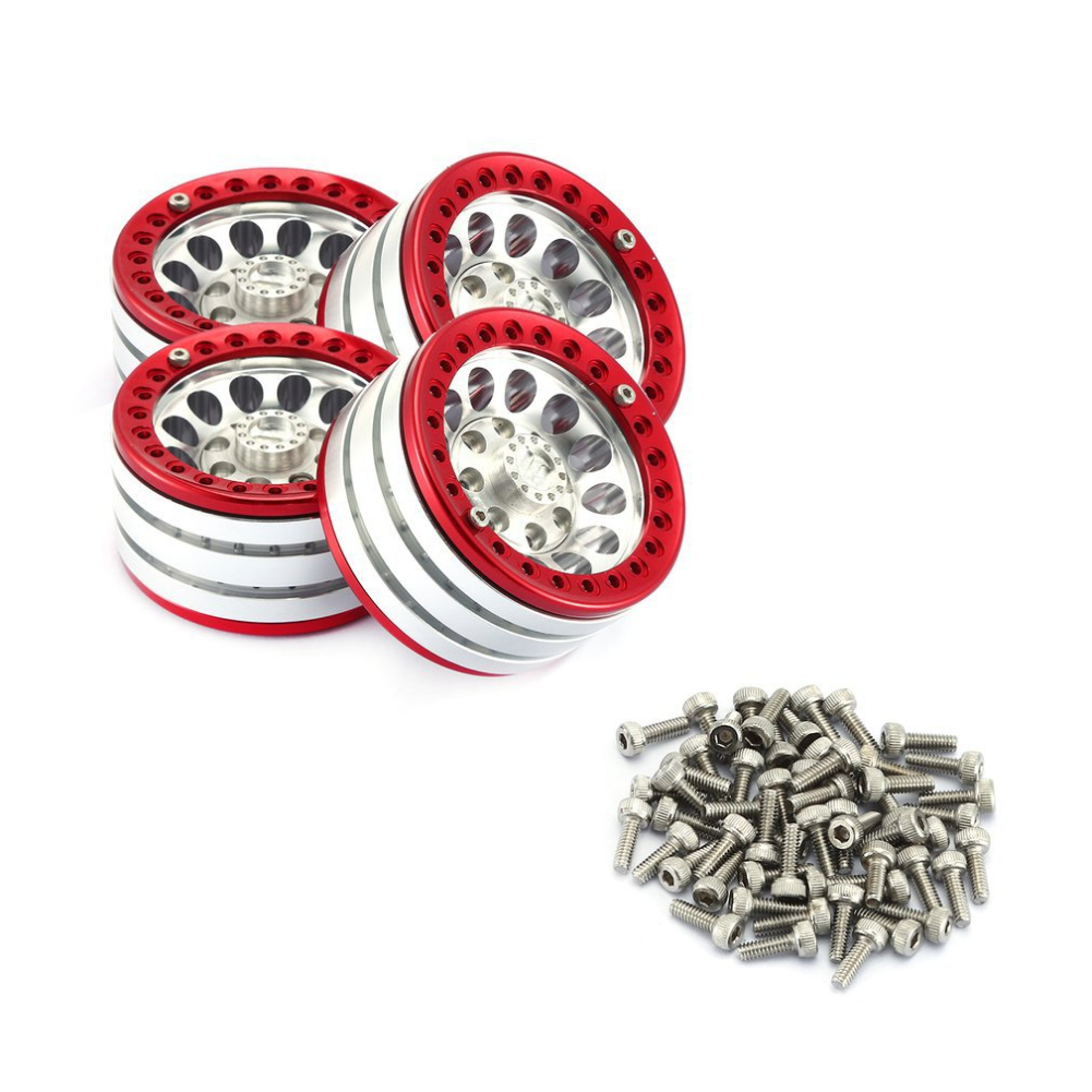 4PCS 1.9 inch Metal Beadlock Wheel Rim for 1:10 RC Crawler Traxxas Hsp Redcat Rc4wd Tamiya Axial Scx10 D90 Hpi Tire Accessories Silver