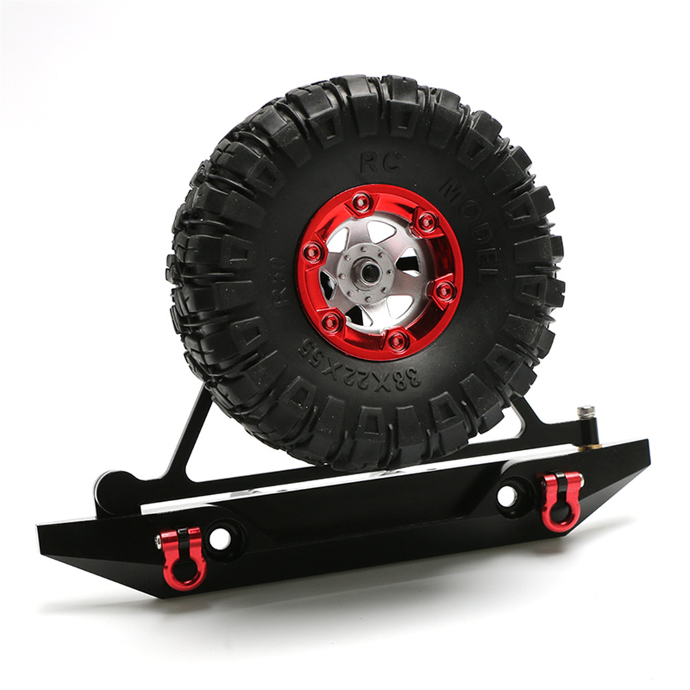 RC Axail SCX10 Rear Bumper Spare Tire Rack Winch Hook for 1/10 RC Crawler Car RC4WD D90 Aluminum Alloy Upgrade Part black_Rear bumper + red tire