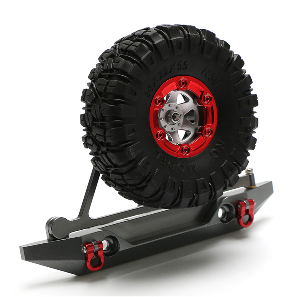 RC Axail SCX10 Rear Bumper Spare Tire Rack Winch Hook for 1/10 RC Crawler Car RC4WD D90 Aluminum Alloy Upgrade Part gray_Rear bumper +red tire