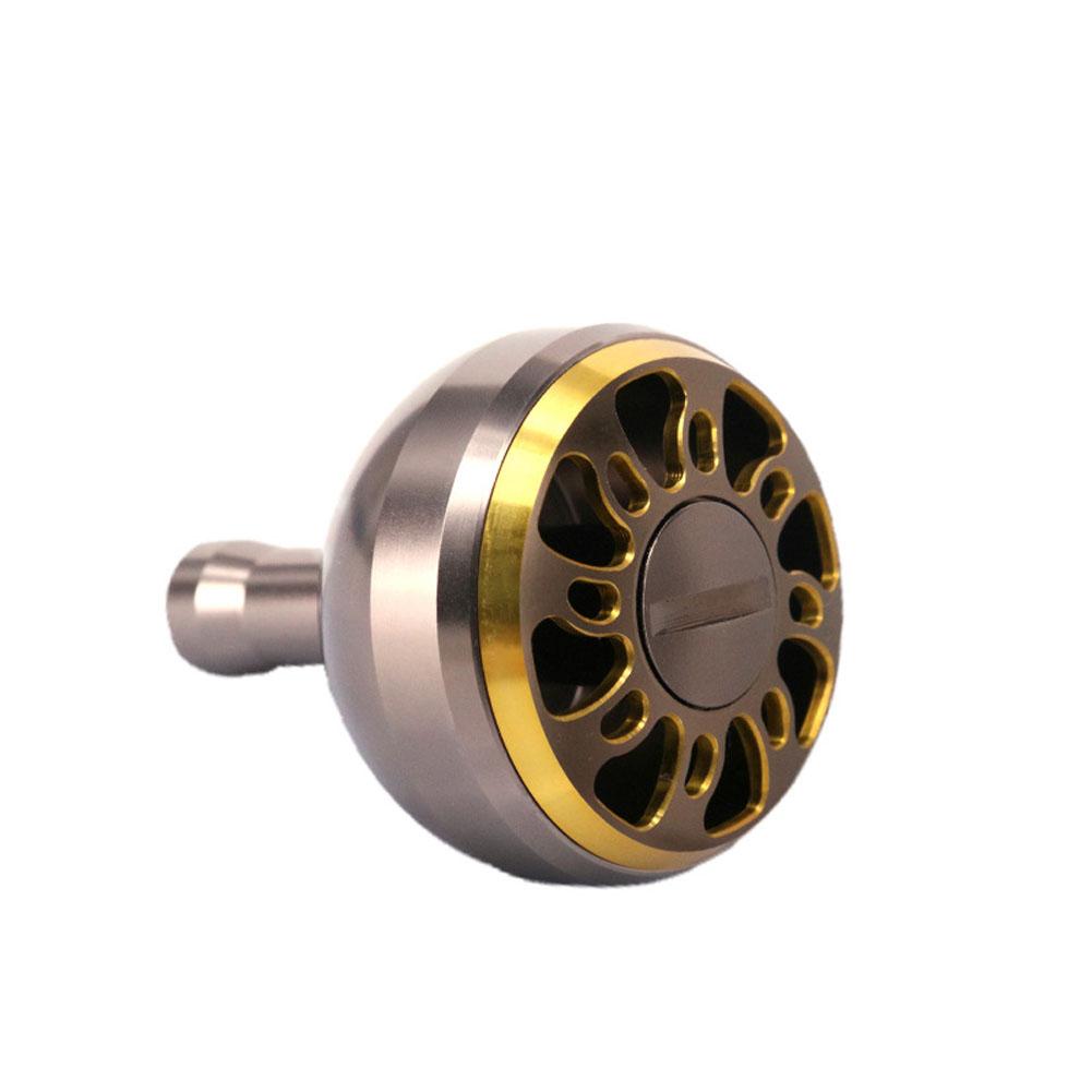 Fishing Reel Knob Full Metal Fishing Reel Modification 38MM Handle Knob CNC Rocker Grip Coffee gold_38mm lotus hole pill