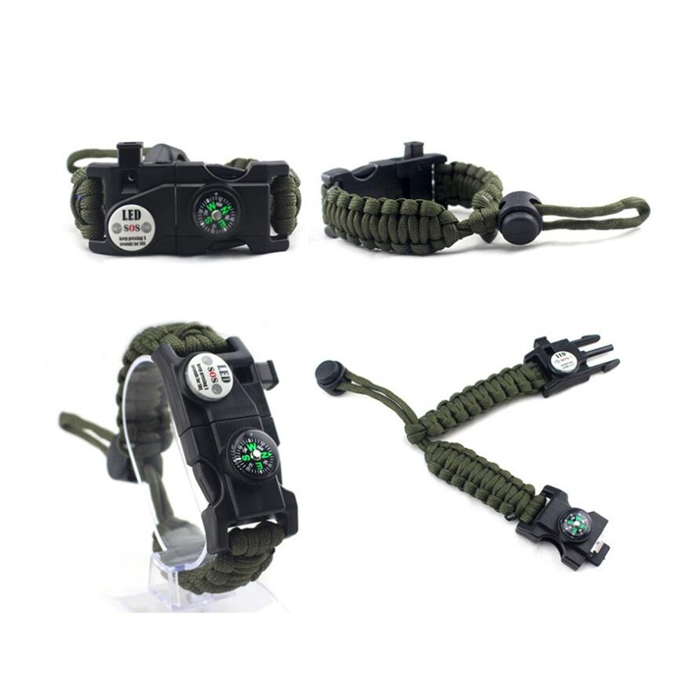 LEDway Paracord Bracelet Tactical Survival Gear Kit 6-IN-1 Compass LED SOS ArmyGreen