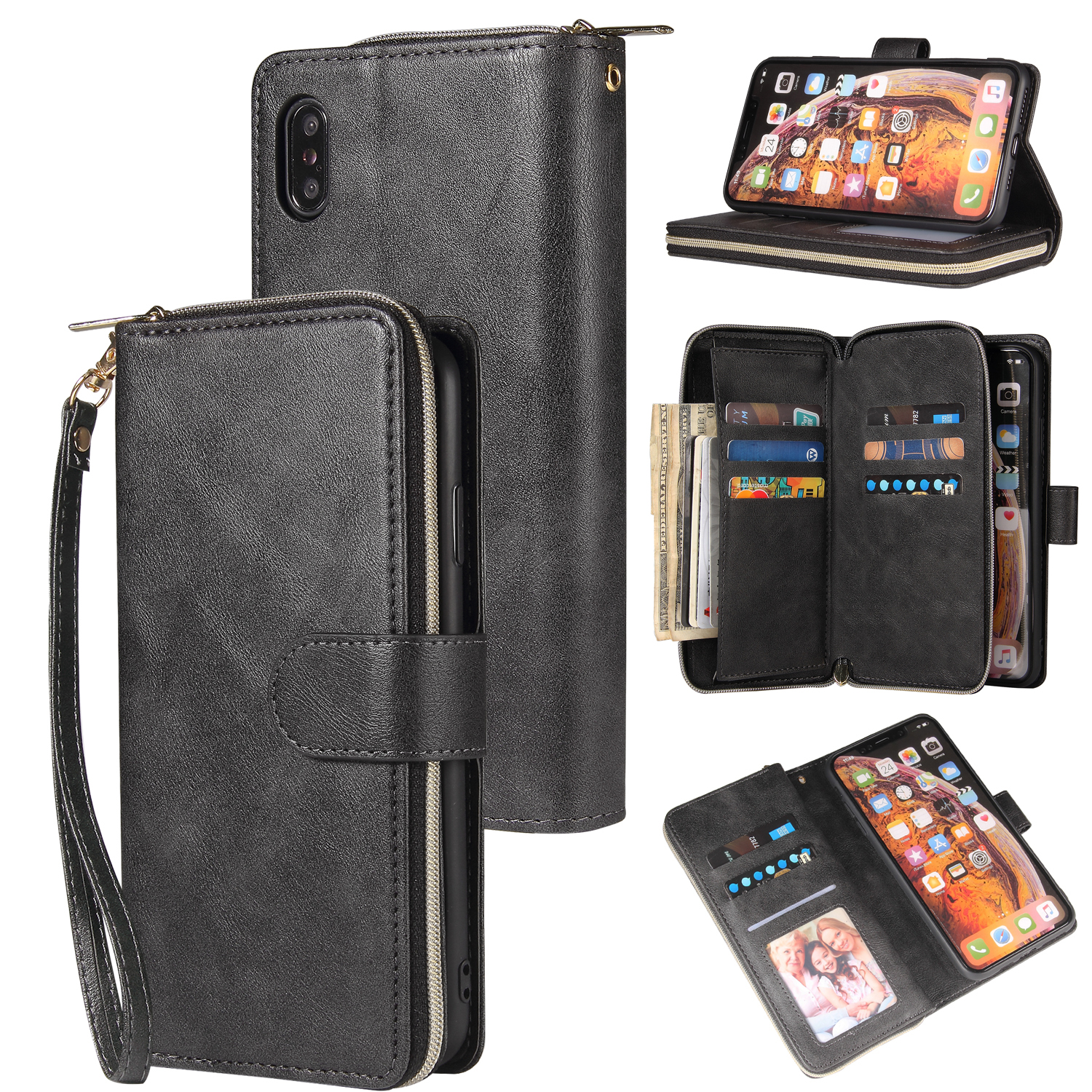 For iphone X/XS/XS MAX/11/11Pro Pu Leather  Mobile Phone Cover Zipper Card Bag + Wrist Strap black