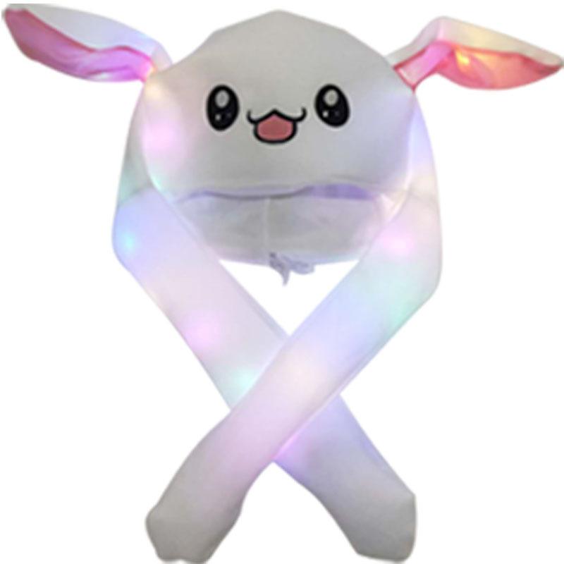 Bright Light Lovely Cartoon Jumping Animal Ears All Matching Hat Air Bladder Cap Rabbit white