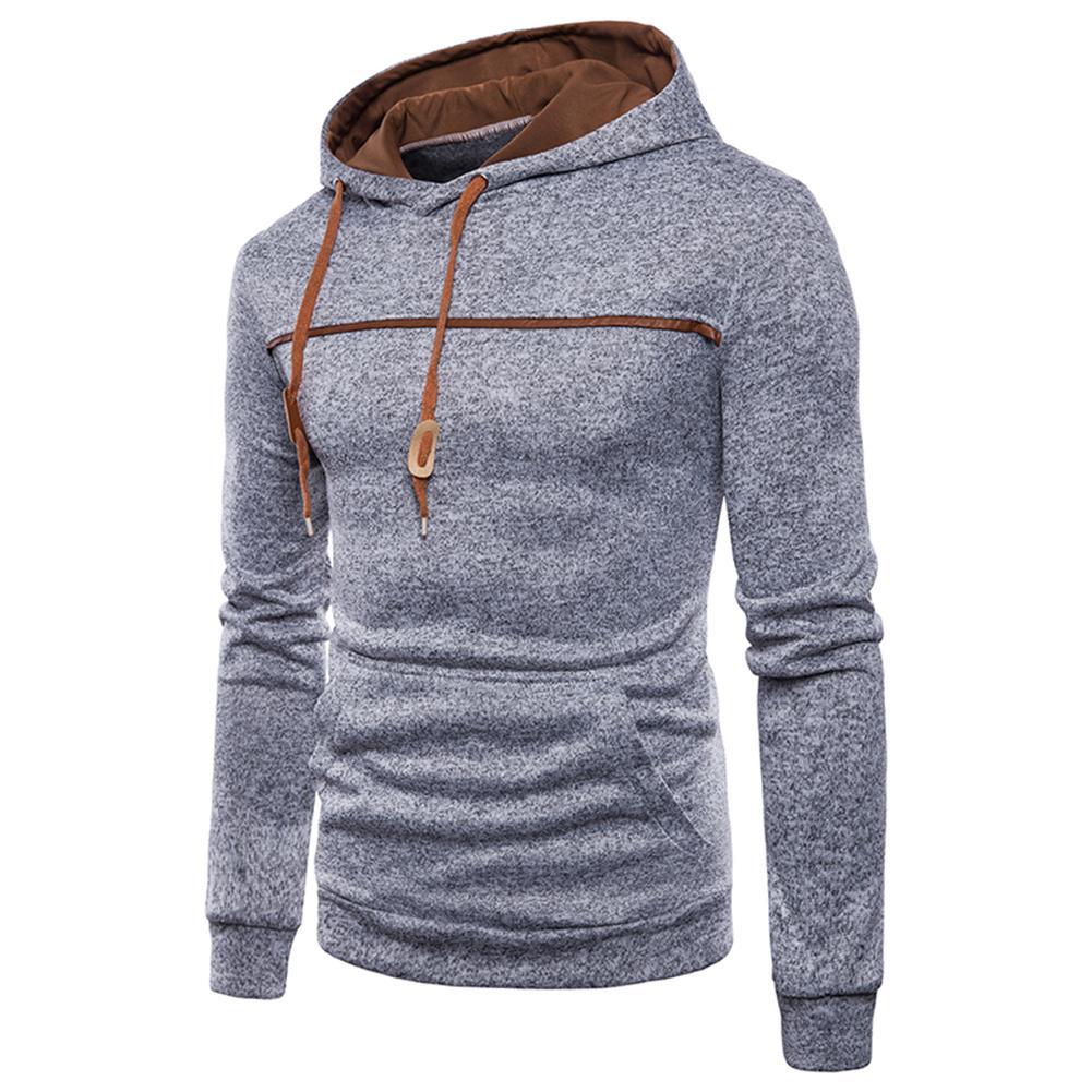 Men Casual Sports Long Sleeve Hoodie Simple Solid Color Hooded Sweatshirt Pullover light grey_L