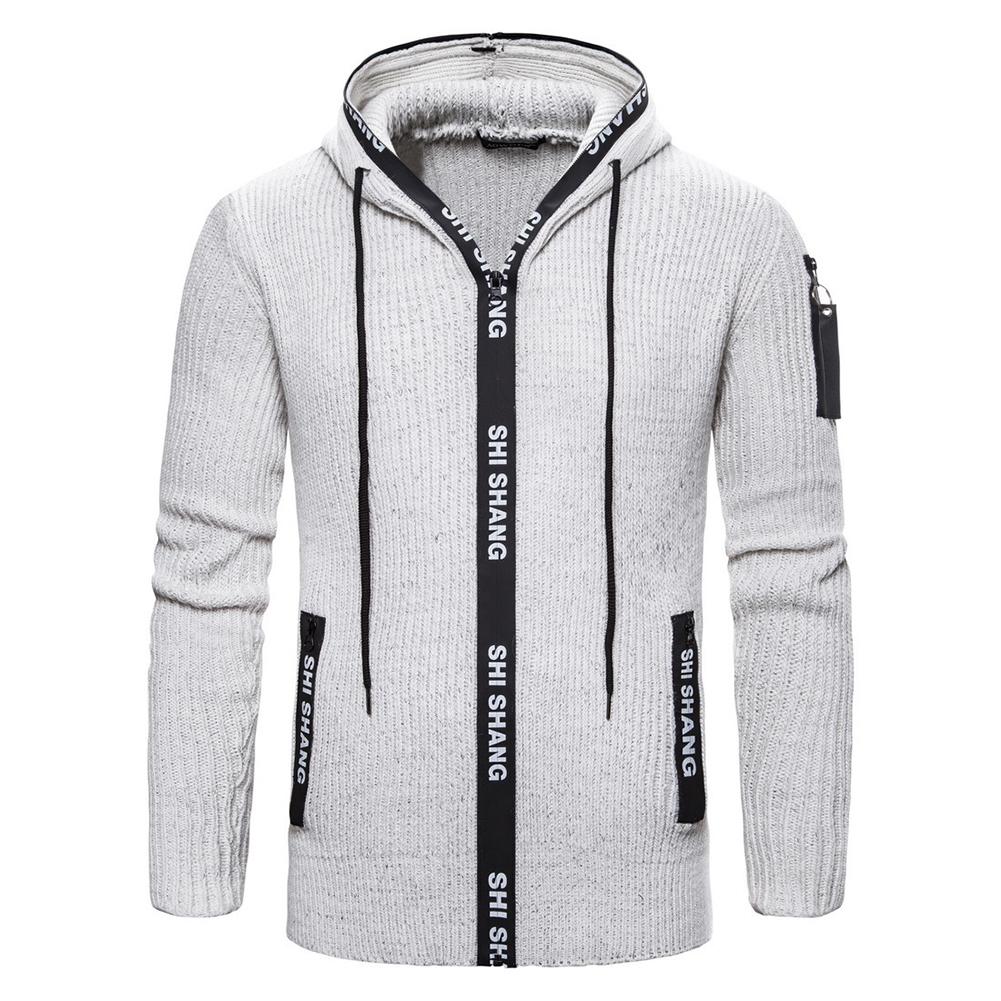 Men Autumn Slim Knit Cardigan Zip Up Hooded Sweater Jacket Coat Tops light grey_M