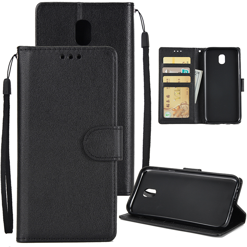 For Samsung J7 2017 European Edition/J730/J7 PRO PU Leather Protective Phone Case with 3 Card Position black