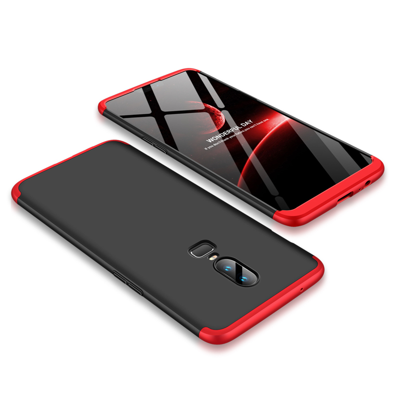 For One Plus 6 Slim 3 in 1 Hybrid Hard Case Full Body 360 Degree Protection Back Cover  Red black red