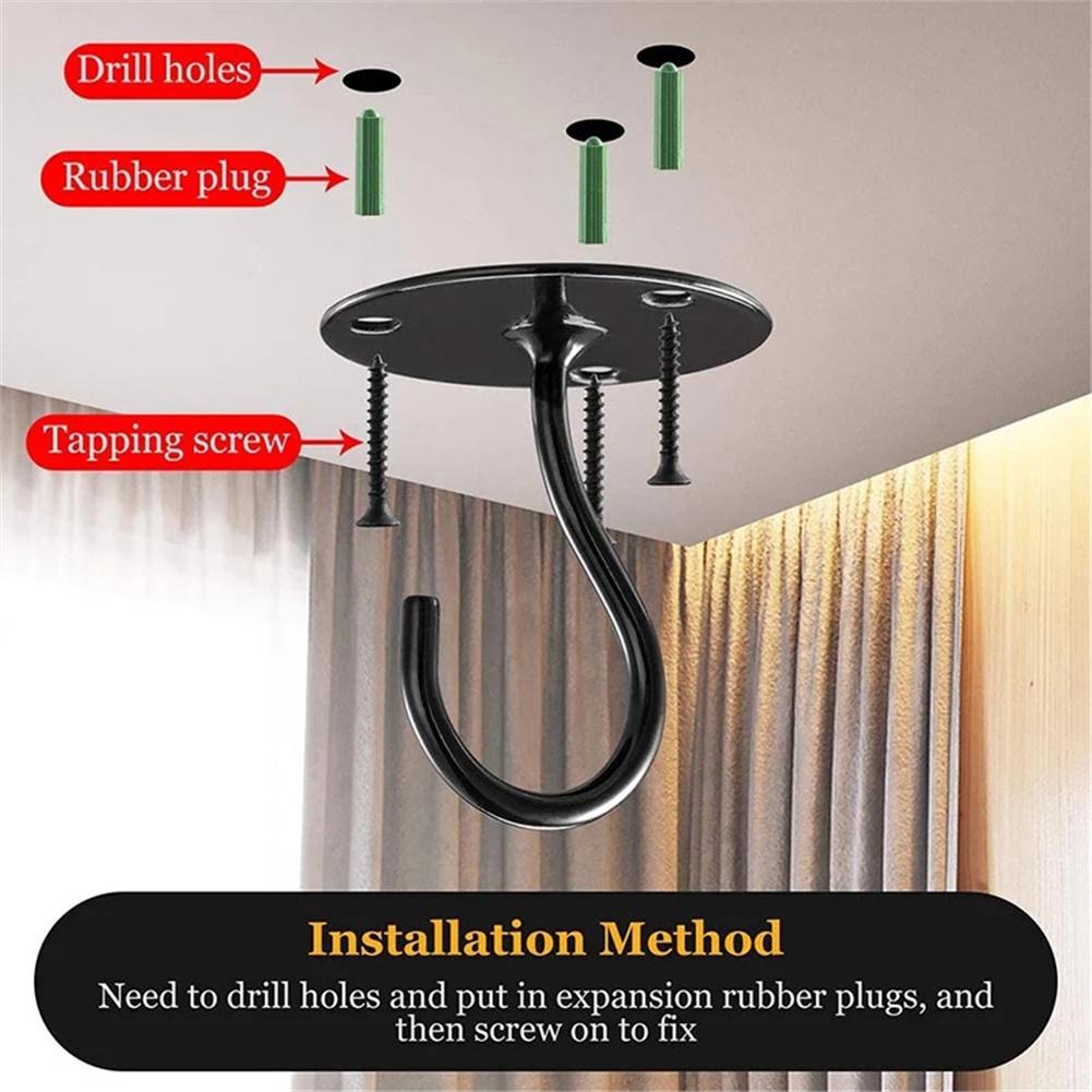 2pcs Ceiling  Hooks For Bird Feeder Lantern Wind Chime Flowerpot Outdoor Decoration Pendant Black 2Pcs/pack