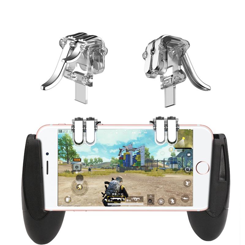 4-Click Metal PUBG Mobile Controller Portable Gamepad L1 R1 Trigger Aim L1R1 Shooter Phone Game Fire Button  Transparent