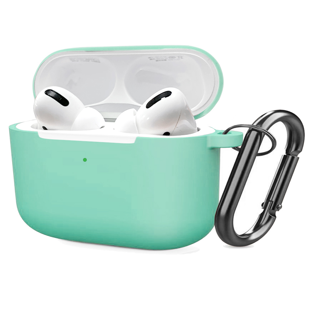 Soft Silicone Case for Airpods Pro Shockproof Hook Protective Bags With Keychain Earbuds Cover Light blue