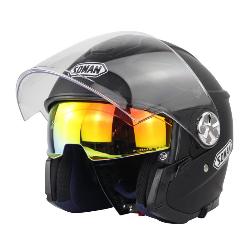 Motorcycle Helmet 3/4 Electrical Helemets Dual Visor Half Face Motorcycle Helmet   Matte black_XL