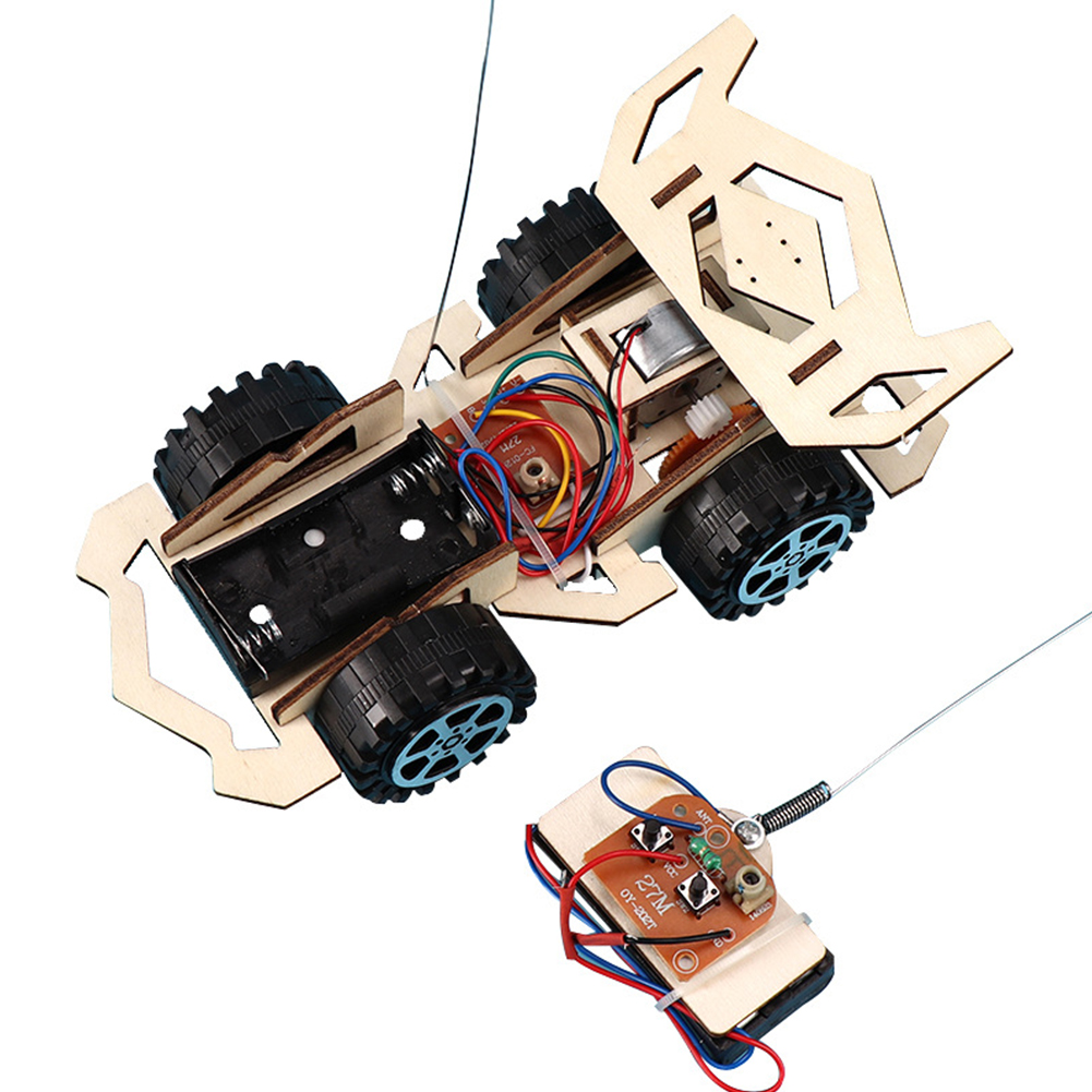 [Indonesia Direct] Children Electric Wood Vehicle Assembly Kits Educational Science Technology Kits as shown