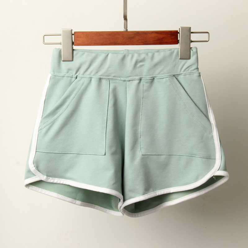 [Indonesia Direct] Woman Sports Casual Pure Color Fashion Candy Color Shorts Pea green_M