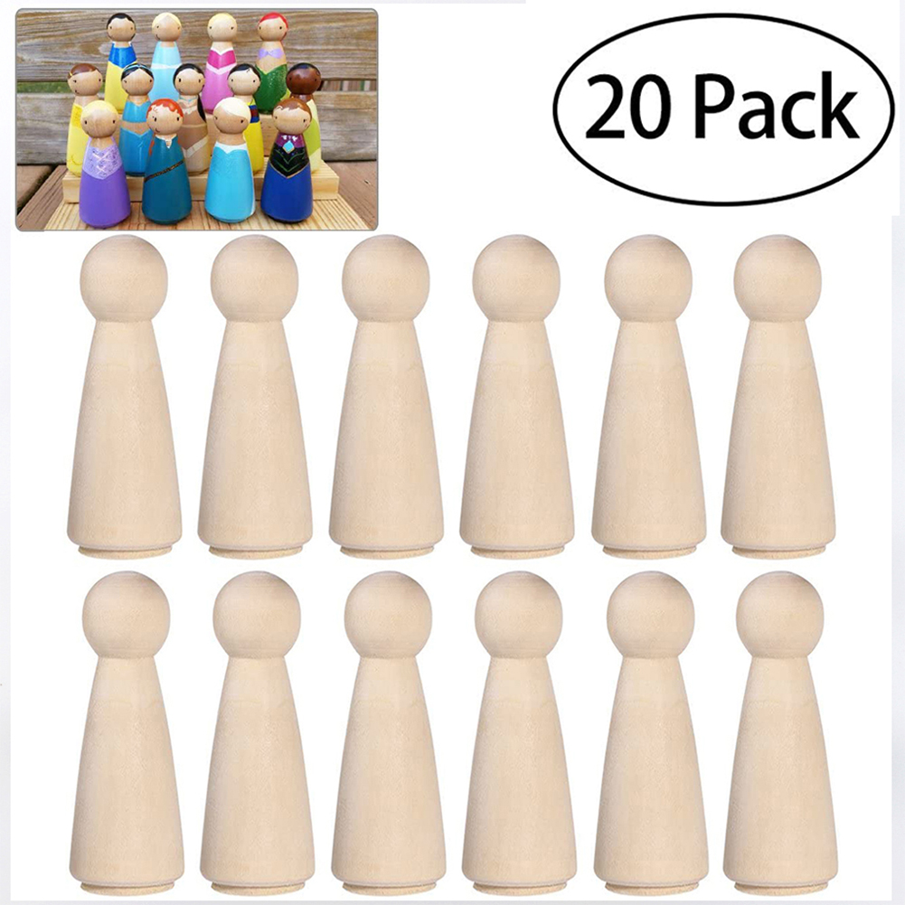 20Pcs/Set Hand Painted Wooden Girl Doll Toys Home DIY Crafts Decoration JM01951