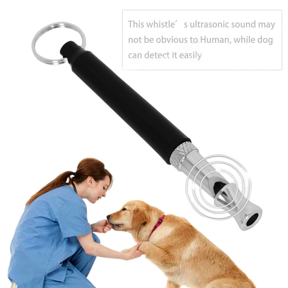 Dog Training Obedience Whistle for Pet Metal Ultrasonic Dog Flute black