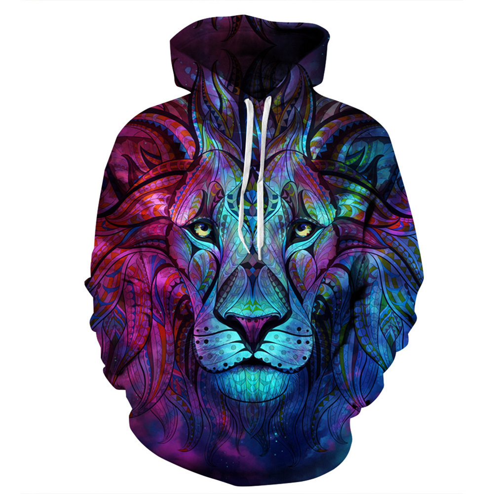 Unisex Fashion 3D Star Lion Digital Printing Hooded Sweatshirt Stylish Long-Sleeve Coat Star lion_S