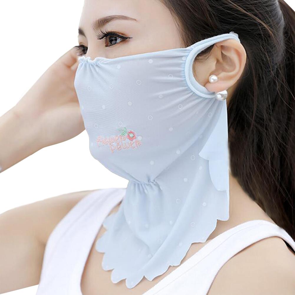 Women's Summer Flower Embroidery Wave Edge Sunscreen Ice Silk Mask Dustproof Mask Wave blue_One size