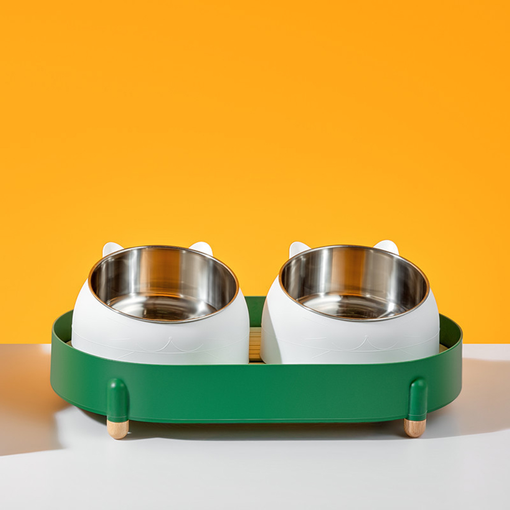 Cat Pet Double Bowl Cat Food Rice Bowl Stainless Steel Drop Resistant Durable Feeding Bowl Dark green