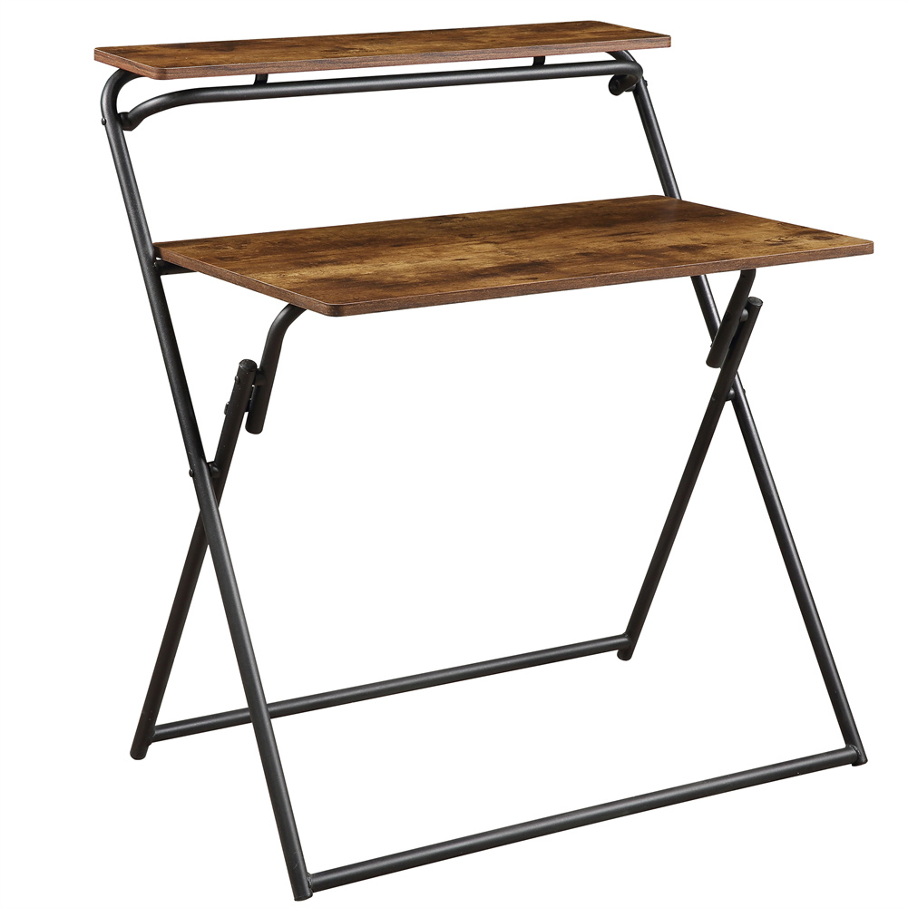 [US Direct] 2-layer Small Computer  Table With Shelf Folding Desk Home Office Furniture Brown