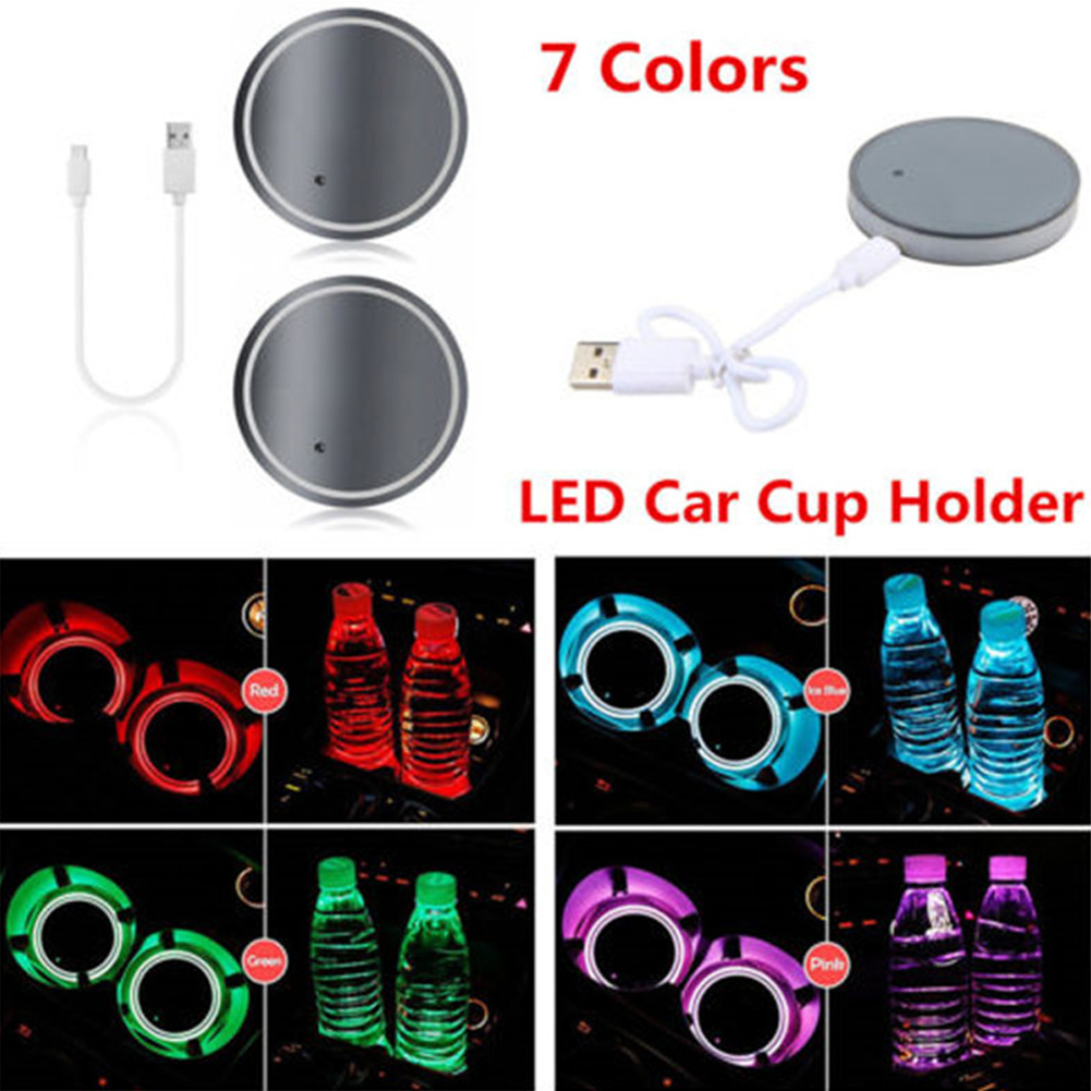 2PCS LED Car Colorful Water Cup Mat Lights Seat Trim Accessories Decoration Lamp Colorful_Neutral without logo