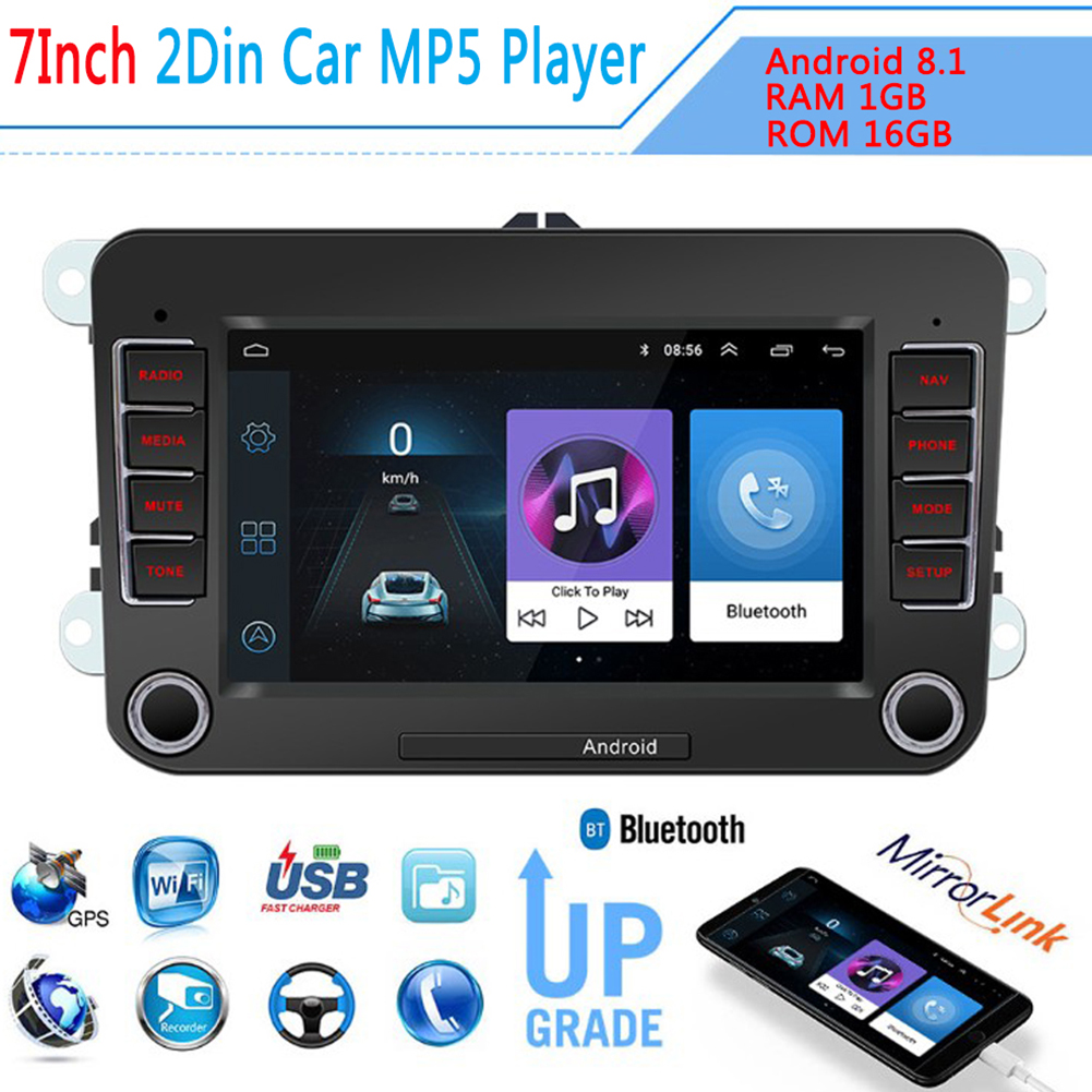 7'' Car Radio Car Multimedia Player Support GPS Navigation Autoradio 2din Stereo Video MP5 For Volkswagen black