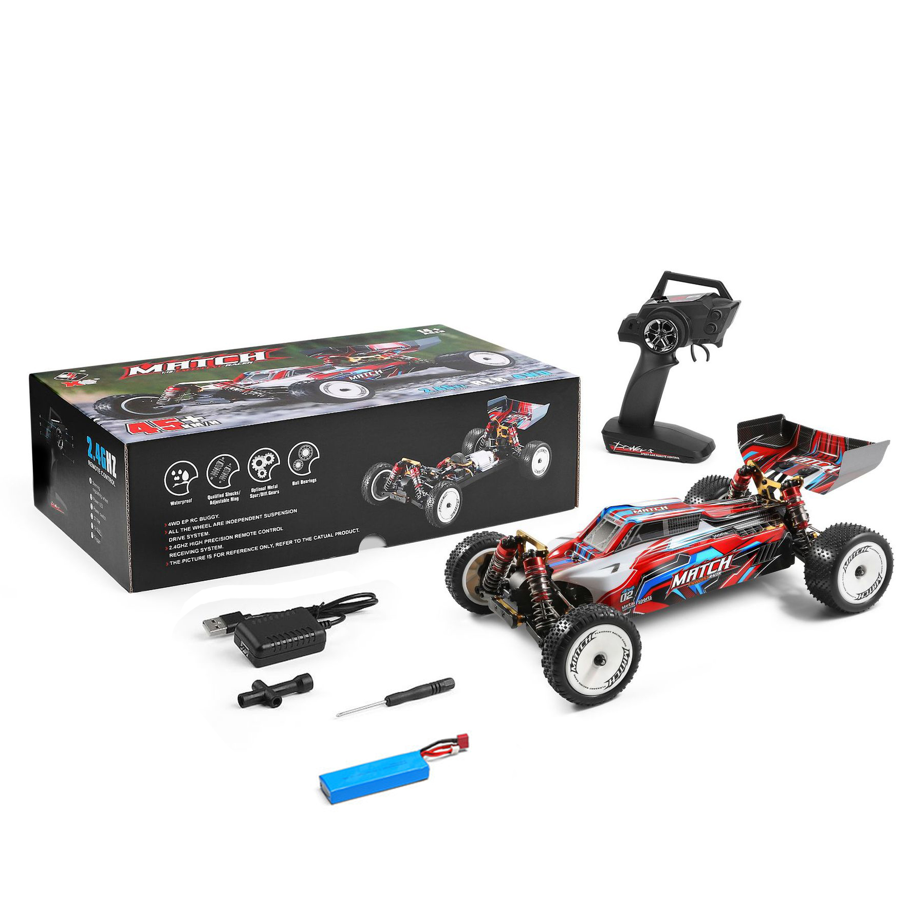 104001  1/10  Rc  Car 2.4g High Speed Drift Off-road 4wd Car Competitive Vehicle Racing Car Toys For Boys 104001