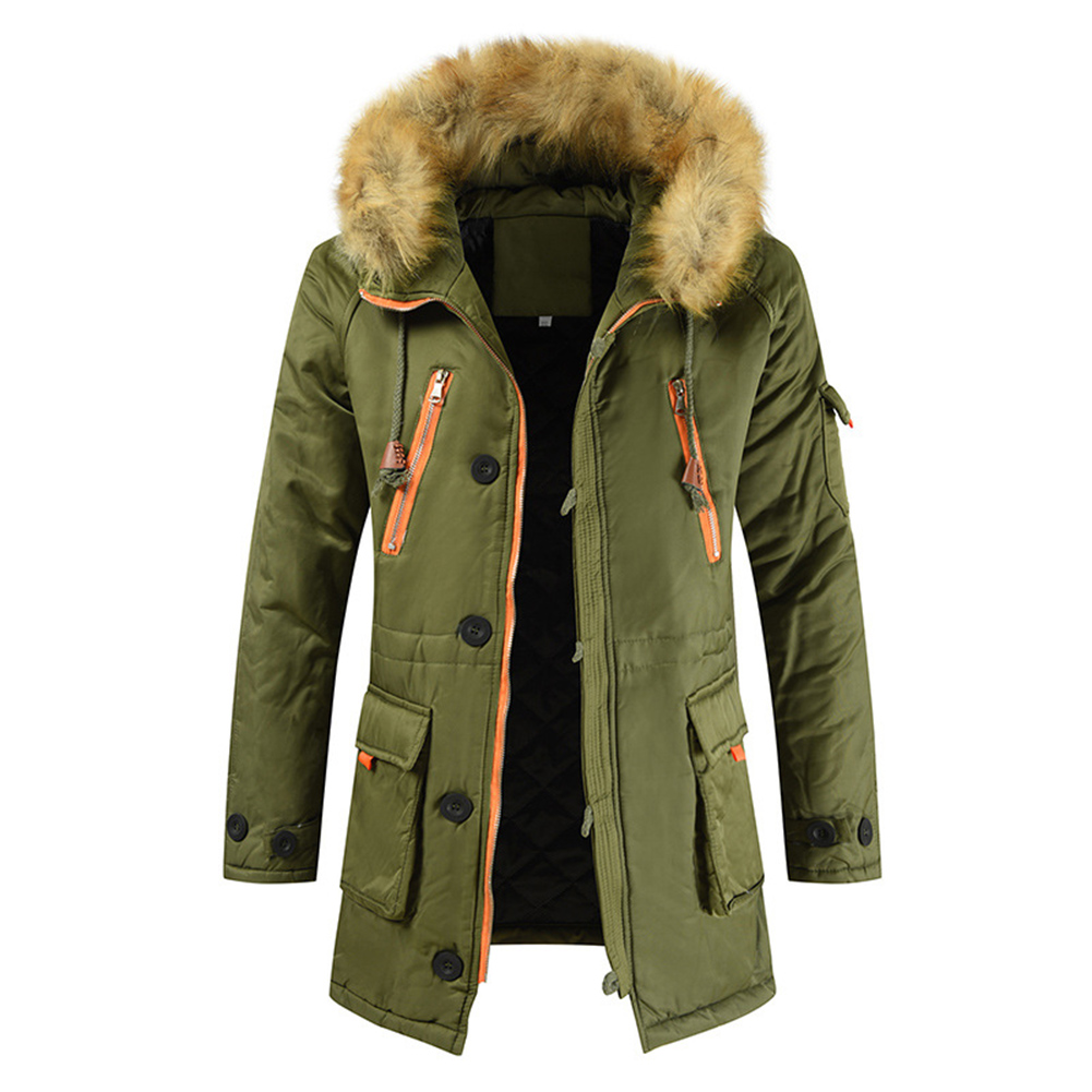 Men's  Coat  Long  Velvet  Fur Collar    Mid-length     Zipper    Padded  Jacket olive green_XL