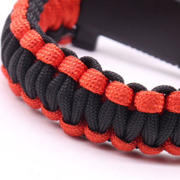 5-in-1 Multi-function Outdoor Seven-core Umbrella Rope Lanyard Camping Adventure Bracelet Red plus black