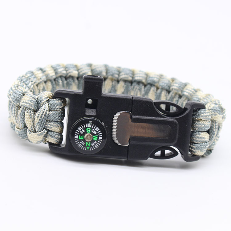 5-in-1 Multi-function Outdoor Seven-core Umbrella Rope Lanyard Camping Adventure Bracelet Military camouflage