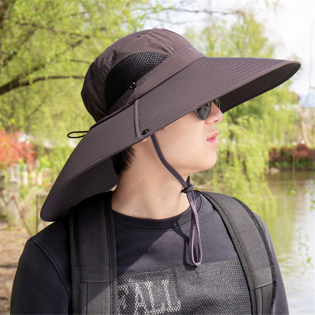 Quick-drying Fabric Fisherman Hat Protection Long Large Wide Brim Mesh Hiking Outdoor Beach Cap Pure color-Dark coffee_m-56-58cm