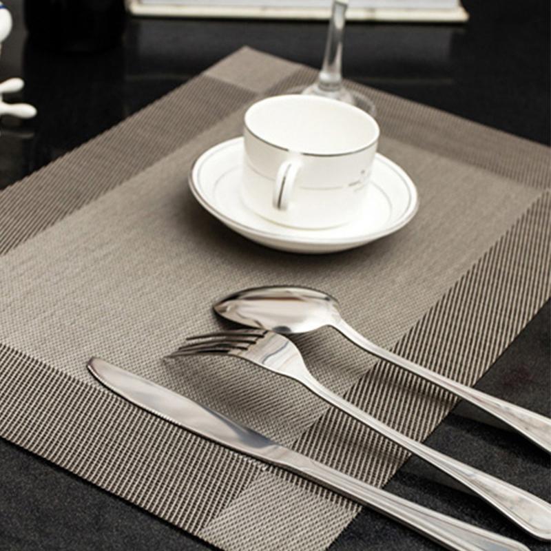 [EU Direct] Kitchen Plaid PVC Environmental Heat Insulation Eat Mats Table Placemat