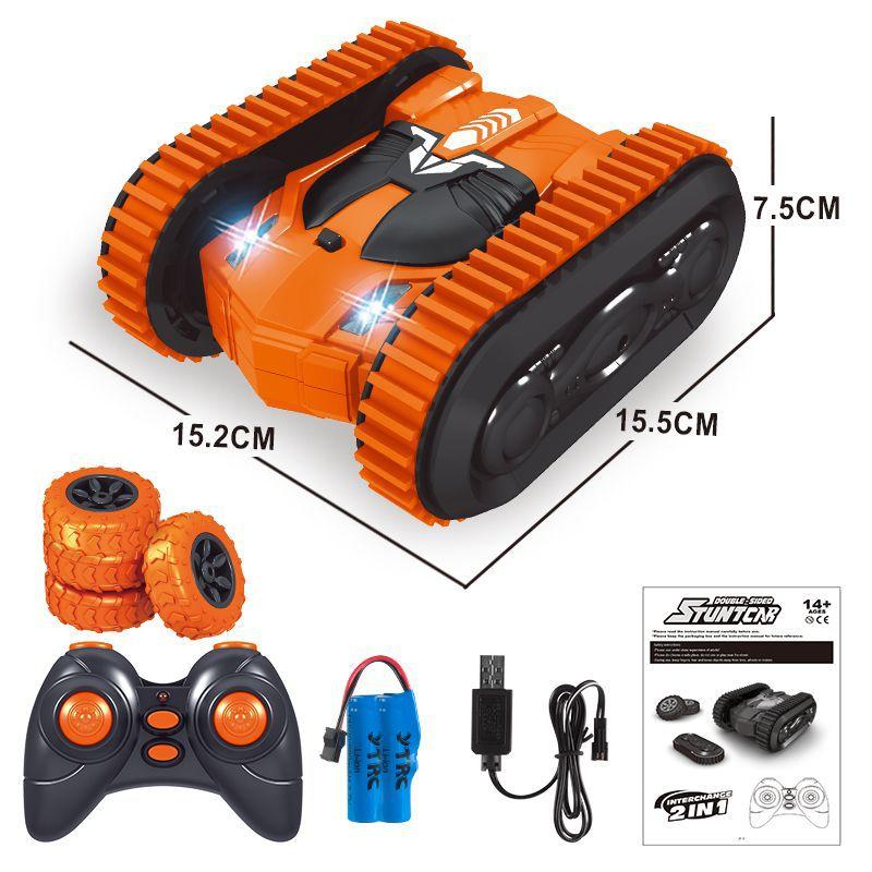 2in1 Remote Control Double Side Stunt Vehicle Track + Desert Wheel Switch Orange