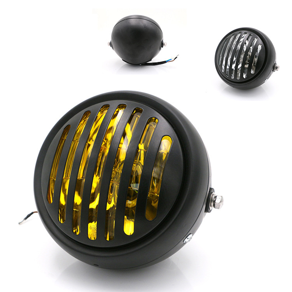 Motorcycle Headlight Black Metal Retro Headlight Front Light 12V Fits For CG125 GN125  Yellow glass