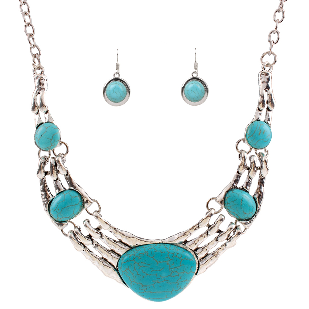 [EU Direct] Gprince European Retro Vintage Pattern Oval Turquoise Necklace Earrings Jewelry Set