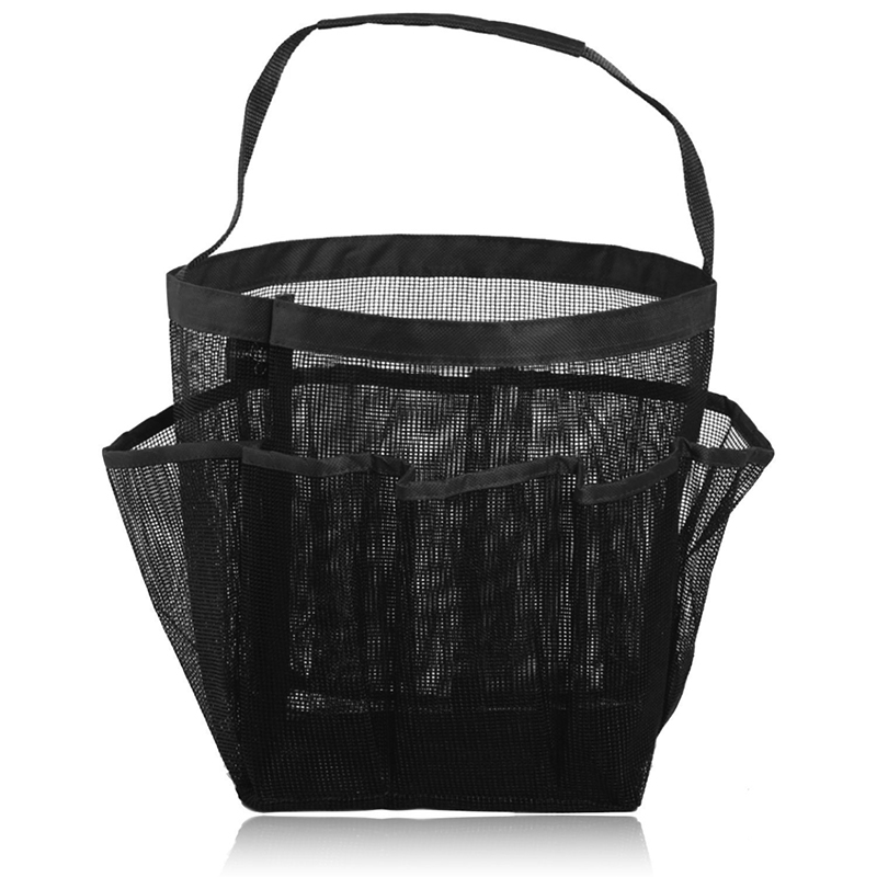 [EU Direct] Portable Mesh Shower Tote, Quick Dry Hanging Toiletry and Bath Organizer with 8 Storage Pockets, Perfect Travel Bag Black_20*20*19CM