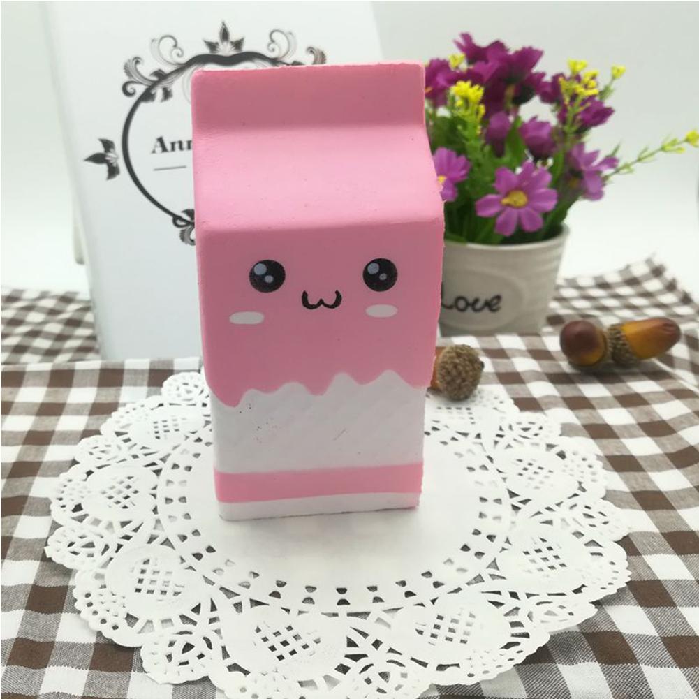 [EU Direct] Cute Slow Rising Milk Bag Toys Soft Squishy Milk Box Stress Anxiety Reducer Creative PU Vent Toy  Pink_5.5*12cm