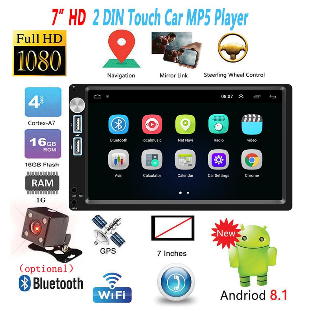 2 Din 7 inch Android 8.1 Car Radio  Autoradio GPS Navigation  Universal Car Multimedia Player BT FM Mirrorlink Stereo Audio A5 With camera