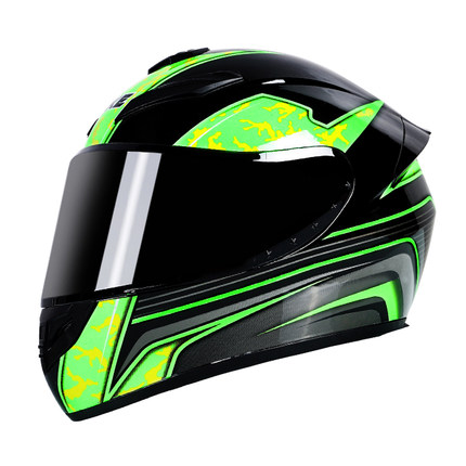 Motorcycle Helmet cool Modular Moto Helmet With Inner Sun Visor Safety Double Lens Racing Full Face the Helmet Moto Helmet Green lightning_M