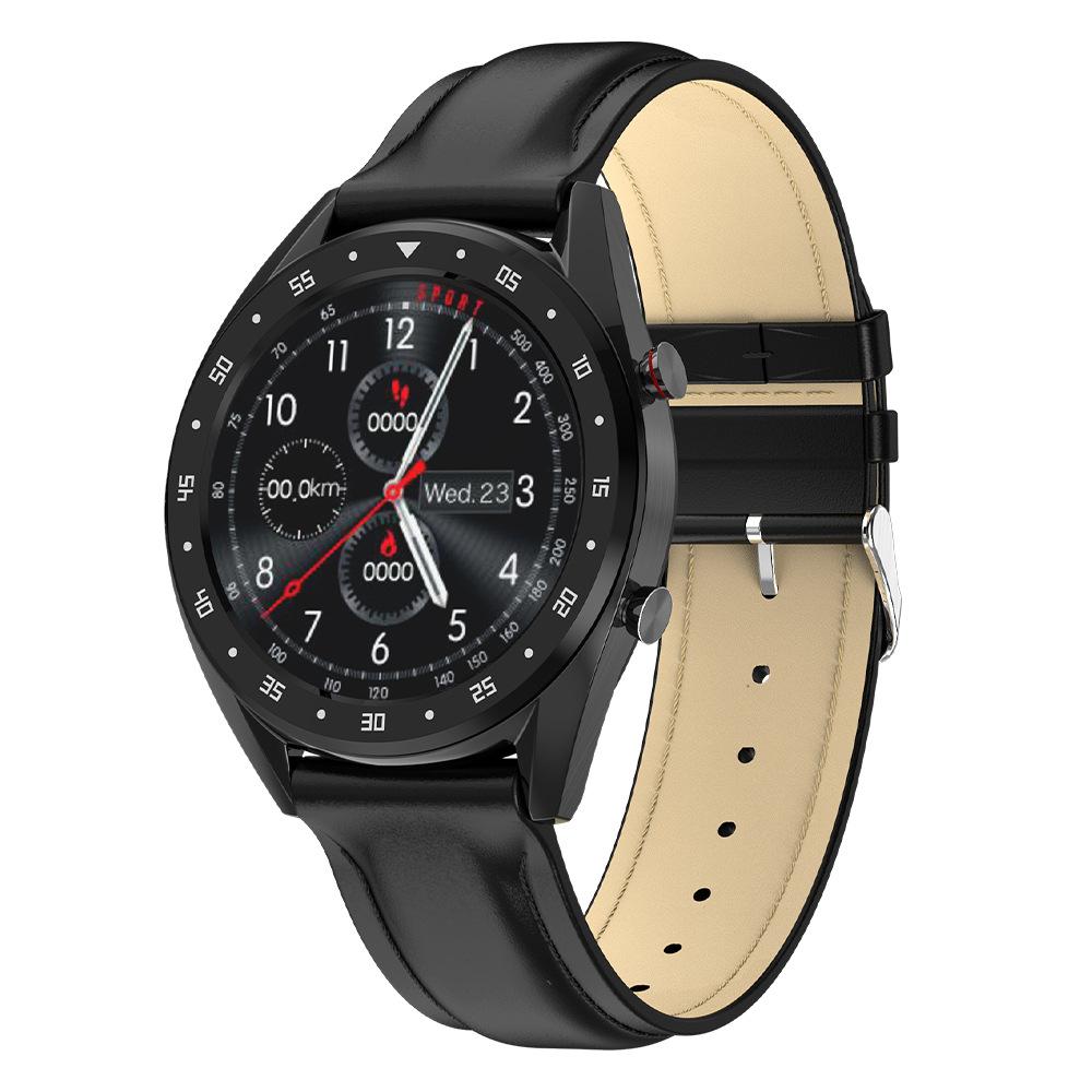 Smart Watch L7 Blood Pressure/Bluetooth/GPS/Sleep Monitor Men Women Watch Black leather
