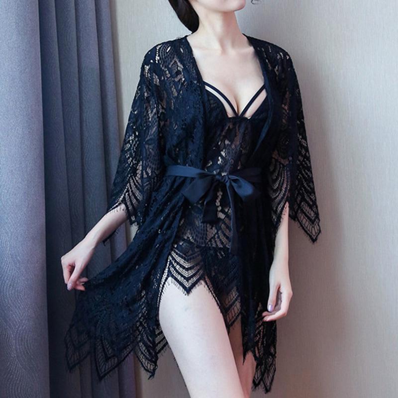 Ladies Sexy See-Through Nightwear Suit Women Lace Dress Pantie Set Black (without robe)_free size