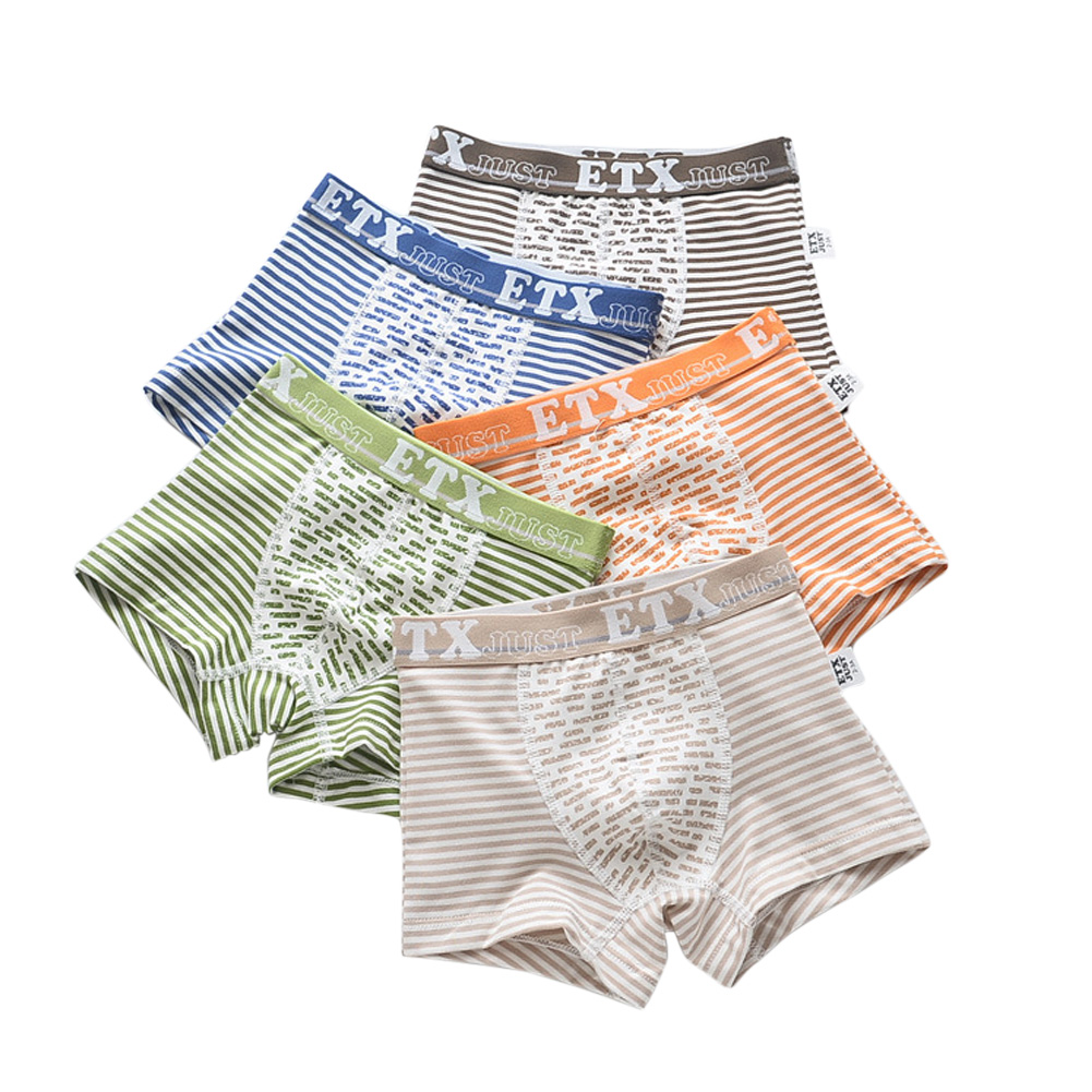 5pcs Kids Underwears Fashion Boy Pure Cotton Breathable Stripe  Boxer Briefs As shown