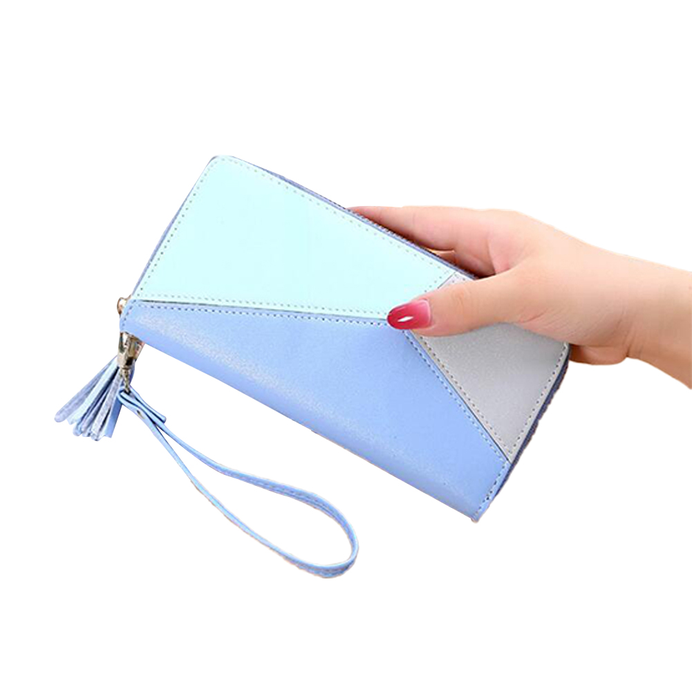 Women Wallet Long PU Leather Purse ID Bank Card Cellphone Coin Holder Zipper Hand Bag blue