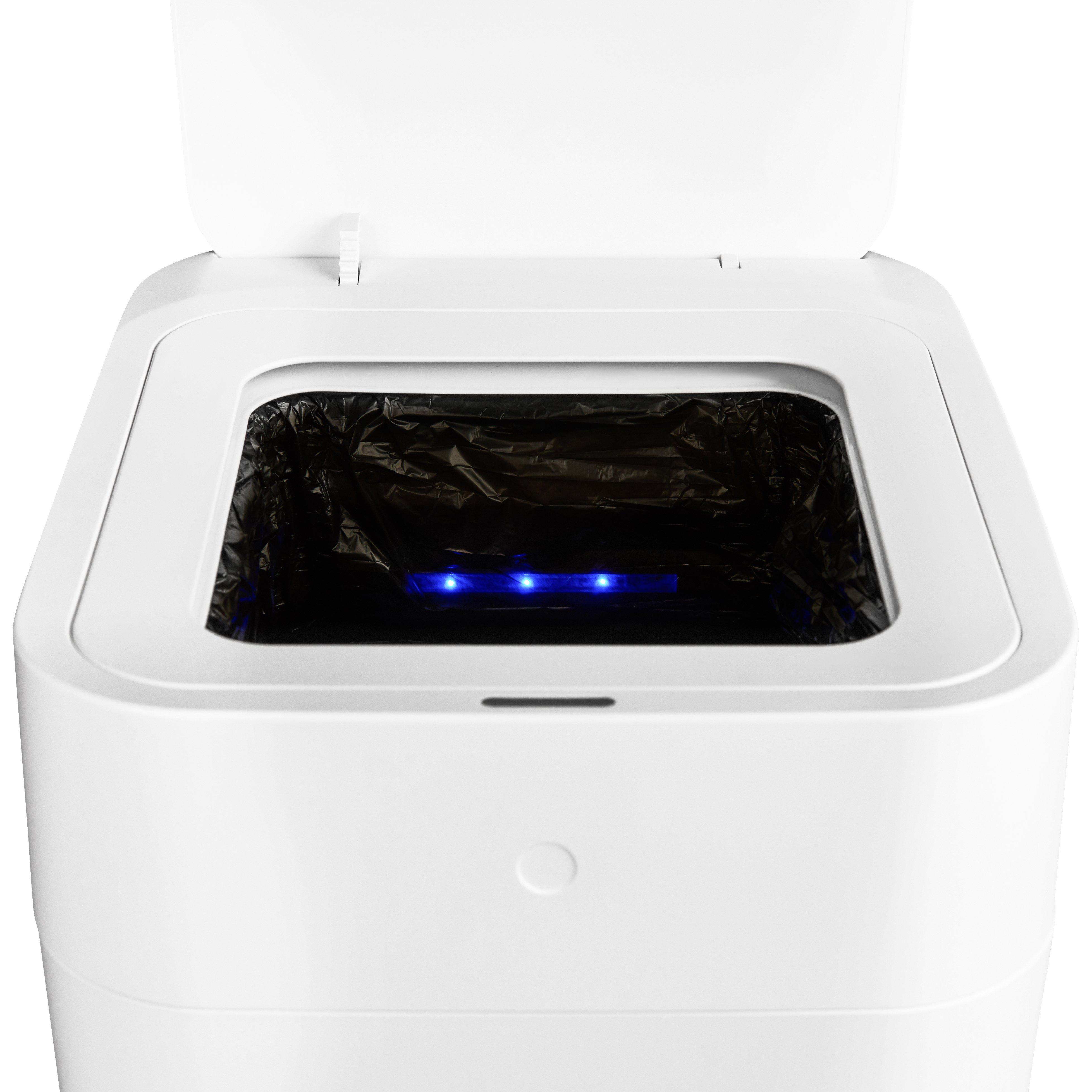 [US Direct] TOWNEW T1S Self-Sealing and Self-Changing 4 Gallon Trash Can | Automatic Open Lid and Motion Sense Activated Garbage Bin | Smart Home Electric Trash Cans - White x1 Refill Ring Included (Up to 25 Bags) 29*36*49